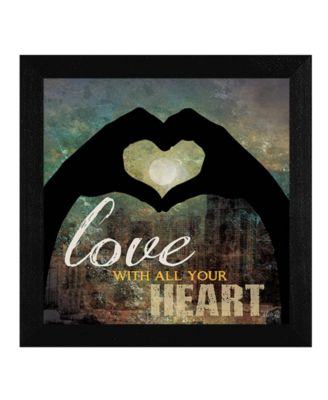 """Love with all Your Heart By Marla Rae, Printed Wall Art, Ready to hang, Black Frame, 14"""" x 14"""""""