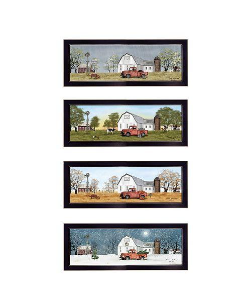 "Trendy Decor 4U Trendy Decor 4U Billy Jacobs Four Seasons Collection V 4-Piece Vignette, Black Frame, 26"" x 10"""