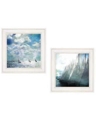 "Sailboat Marina 2-Piece Vignette by Bluebird Barn, White Frame, 15"" x 15"""