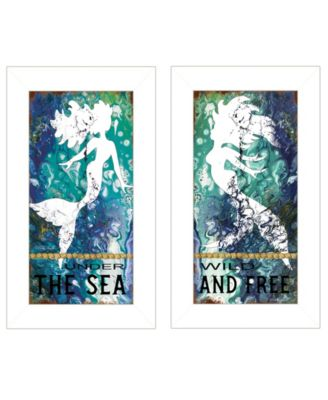 """Under The Sea 2-Piece Vignette by Cindy Jacobs, White Frame, 11"""" x 19"""""""