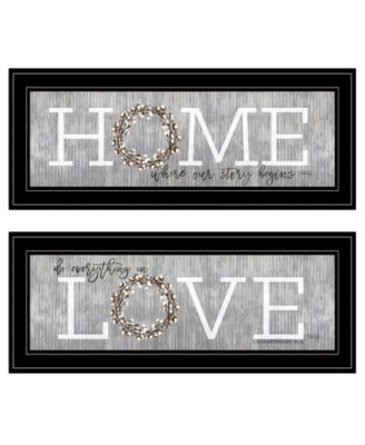 """Where Our Story Begins 2-Piece Vignette by Marla Rae, Black Frame, 27"""" x 11"""""""