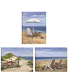 "Sand Beach Designs 3-Piece Vignette by Opportunities, Gallery Wrap Canvas, 16"" x 12"""
