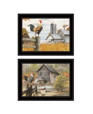 "Down on the Farm 2-Piece Vignette by Ed Wargo, Black Frame, 15"" x 19"""