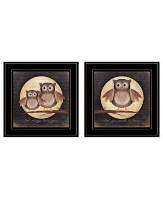 """Owl Always Love Need You 2-Piece Vignette by Marla Rae, Black Frame, 15"""" x 15"""""""