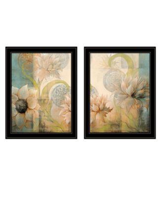 """Meandering Flowers I II 2-Piece Vignette by Dee Dee, Black Frame, 21"""" x 27"""""""