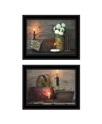 """White / Red baskets 2-Piece Vignette by Susie Boyer, Black Frame, 19"""" x 15"""""""
