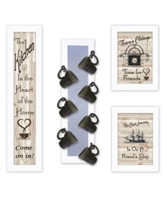 """Kitchen Collection VII 4-Piece Vignette with 7-Peg Mug Rack by Millwork Engineering, White Frame, 10"""" x 32"""""""