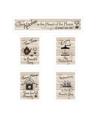 """Kitchen Friendship Collection II 5-Piece Vignette by Millwork Engineering, White Frame, 32"""" x 10"""""""