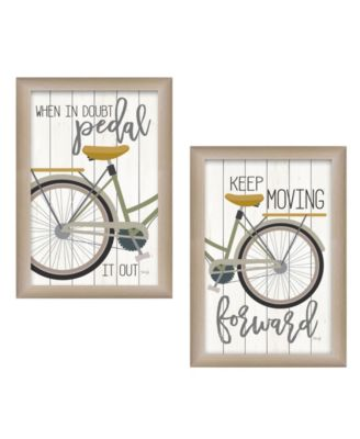 """Pedal it Out 2-Piece Vignette by Marla Rae, Beige Frame, 15"""" x 19"""""""