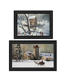 "Millhouse Vignette Collection By R. Vieira and G. Turley, Printed Wall Art, Ready to hang, Black Frame, 33"" x 19"""