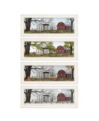 """Four Seasons Collection II 4-Piece Vignette by Billy Jacobs, White Frame, 21"""" x 9"""""""
