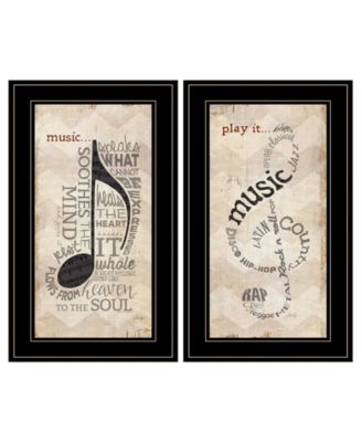 """Music Collection 2-Piece Vignette By Marla Rae, Black Frame, 11"""" x 21"""""""