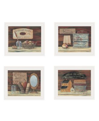 "Bathroom Collection II 4-Piece Vignette by Pam Britton, White Frame, 17"" x 14"""