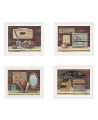 "BATHROOM COLLECTION I 4-Piece Vignette by Pam Britton, White Frame, 17"" x 14"""