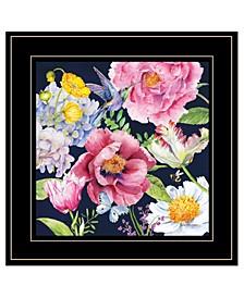 "Trendy Decor 4U Navy English Garden I by Barb Tourtillotte, Ready to hang Framed Print, Black Frame, 15"" x 15"""