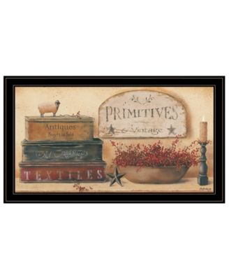 """Primitives Vintage-Like by Pam Britton, Ready to hang Framed Print, Black Frame, 33"""" x 19"""""""