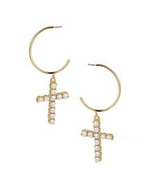 Cross Drop Hoop Imitation Pearl Earrings