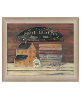 """HOT BATH by Pam Britton, Ready to hang Framed print, Taupe Frame, 17"""" x 14"""""""