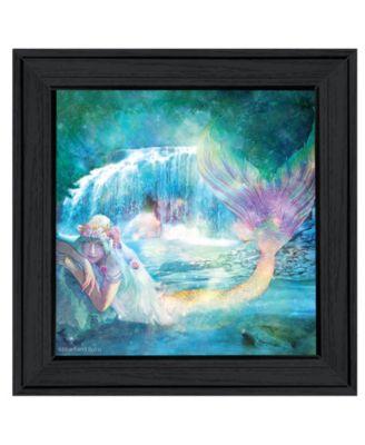 "Woodland Cove Mermaid by Bluebird Barn, Ready to hang Framed Print, Black Frame, 15"" x 15"""