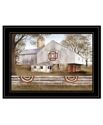 American Star Quilt Block Barn by Billy Jacobs, Ready to hang Framed Print, Black Frame, 27