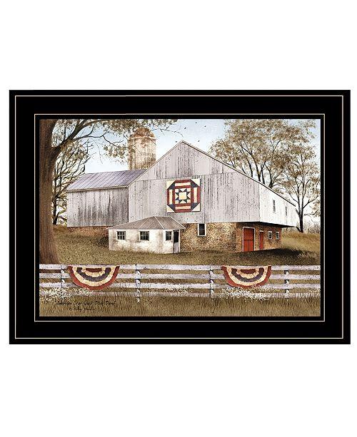 "Trendy Decor 4U Trendy Decor 4U American Star Quilt Block Barn by Billy Jacobs, Ready to hang Framed Print, Black Frame, 19"" x 15"""