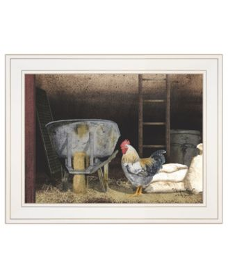 """Chicken Feed by Billy Jacobs, Ready to hang Framed Print, White Frame, 19"""" x 15"""""""