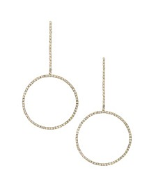Crystal Gold Linear Circle Drop Earring