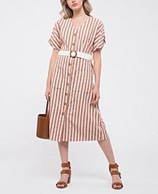 Button-Down Striped Midi-Dress
