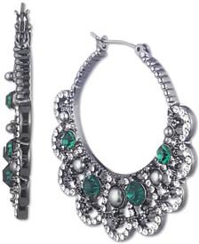 """Hematite-Tone Crystal & Imitation Pearl Filigree Medium Hoop Earrings, 1-1/2"""""""