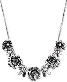 "Hematite-Tone Crystal & Imitation Pearl Flower 16"" Statement Necklace"
