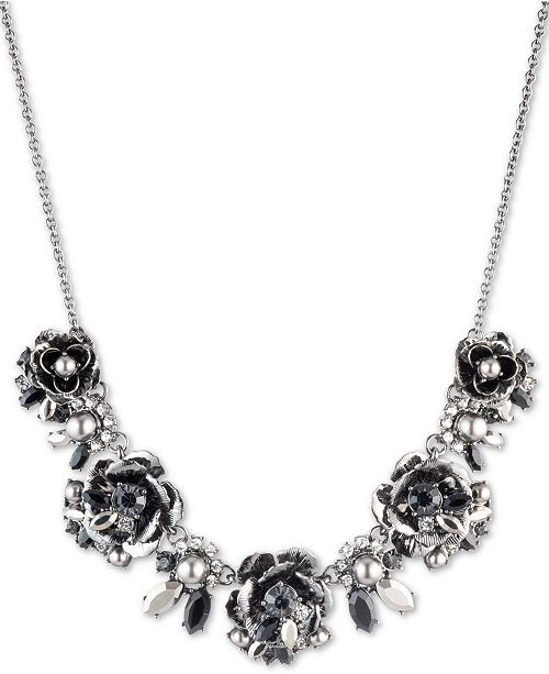 "Marchesa Hematite-Tone Crystal & Imitation Pearl Flower 16"" Statement Necklace"