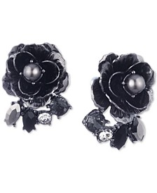 Hematite-Tone Crystal & Imitation Pearl Flower Button Earrings