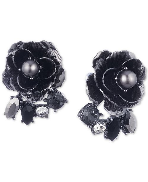 Marchesa Hematite-Tone Crystal & Imitation Pearl Flower Button Earrings