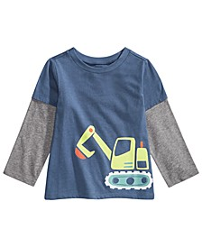 Toddler Boys Bulldozer-Print Layered-Look T-Shirt, Created For Macy's