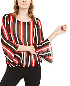 Petite Striped Angel-Sleeve Bubble Top, Created For Macy's