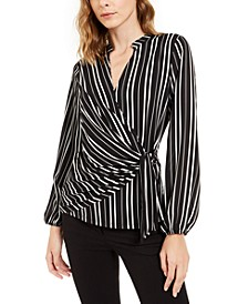 Petite Striped Surplice Top, Created For Macy's