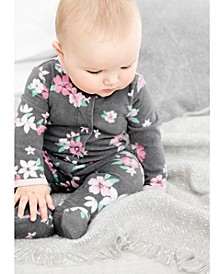 Baby Girls Floral Snap-Up Fleece Coveralls