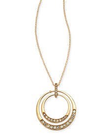 "Gold-Tone Crystal Orbital Pendant Necklace, 20"" + 3"" extender, Created For Macy's"