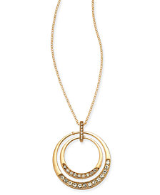 """Charter Club Gold-Tone Crystal Orbital Pendant Necklace, 20"""" + 3"""" extender, Created For Macy's"""
