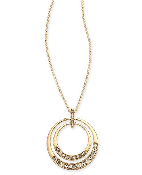 "Charter Club Gold-Tone Crystal Orbital Pendant Necklace, 20"" + 3"" extender, Created For Macy's"