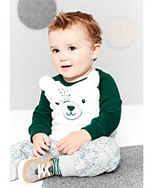Baby Boys 2-Pc. Faux-Fur Bear Sweatshirt & Fleece Jogger Pants Set