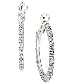 "Silver-Tone Medium Crystal Hoop Earrings, 1.25"", Created For Macy's"
