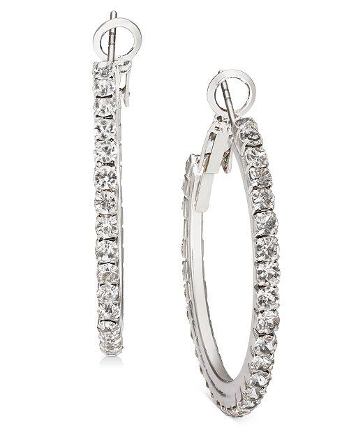 "Charter Club Silver-Tone Medium Crystal Hoop Earrings, 1.25"", Created For Macy's"