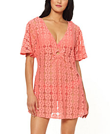 Jessica Simpson O-Ring Crochet Swim Cover-Up Dress