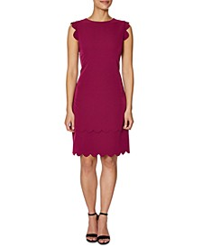 Scalloped-Edge Sheath Dress