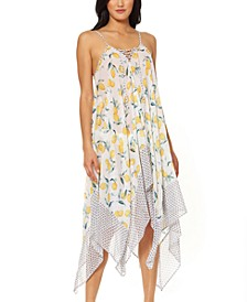 Nice Lemons Printed Lace-Up Swim Cover-Up Dress