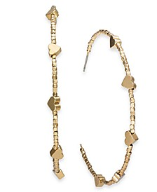 "INC Gold-Tone Large Beaded Heart Hoop Earrings 2.25"", Created For Macy's"