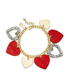 INC Gold-Tone Resin Heart Charm Bracelet, Created For Macy's