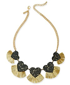 "INC Gold-Tone Resin Hearts & Fringe Statement Necklace, 18"" + 3"" extender, Created For Macy's"