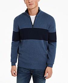 Men's Quarter-Zip Stripe Sweater